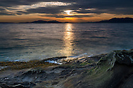 A winter sunset at Clayton Beach in Larrabee State Park - Bellingham, Washington State, USA