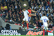 England Forward Raheem Sterling wins the header during the International Friendly match between England and Spain at Wembley Stadium, London, England on 15 November 2016. Photo by Mark Davies.