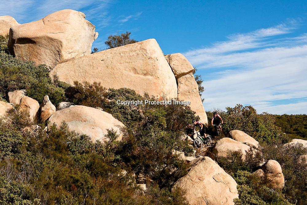 Sam Hill and Brendan Fairclough ride the San Juan trail in the Santa Ana mountain range in Orange County, California
