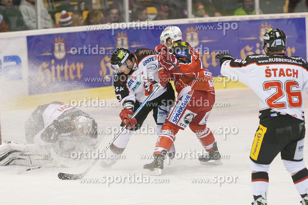 13.11.2013, Stadthalle, Klagenfurt, AUT, EBEL, EC KAC vs HC Orli Znojmo, 34. Runde, im Bild Sasu Hovi (HC Orli Znojmo, #1), Jan Müller (HC Orli Znojmo, #8), Manuel Geier (Kac, #21), Lubomir Stach (HC Orli Znojmo, #26) // during the Erste Bank Icehockey League 34th Round match betweeen EC KAC and HC Orli Znojmo at the City Hall, Klagenfurt, Austria on 2013/11/13. EXPA Pictures © 2013, PhotoCredit: EXPA/ Gert Steinthaler