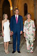 King Felipe VI of Spain, Queen Letizia of Spain and Queen Sofia of Spain attend a Reception to the authorities of the Balearic Islands and a representation of the Balearic society at Palacio de la Almudaina on August 7, 2014 in Palma de Mallorca, Spain
