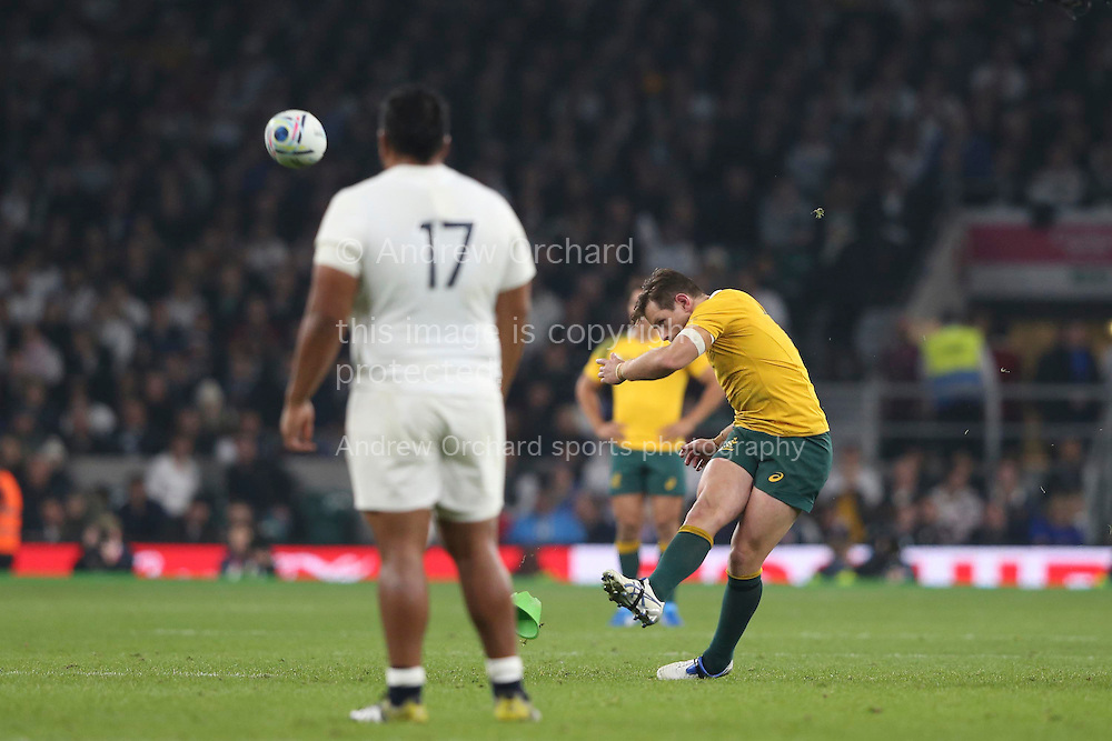 Bernard Foley of Australia scores from a penalty kick in the 2nd half. Rugby World Cup 2015 pool A match, England v Australia at Twickenham Stadium in London, England  on Saturday 3rd October 2015.<br /> pic by  John Patrick Fletcher, Andrew Orchard sports photography.