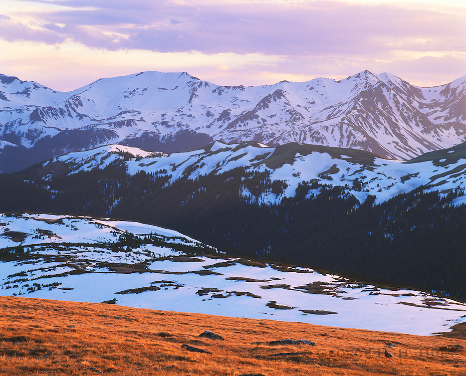 0406-1000 ~ Copyright: George H. H. Huey ~ Never Summer Mountains with tundra, late spring, from near 12,000 feet. Rocky Mountain National Park, Colorado.