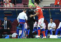 3:0 Tor Jubel v.l. Trainer Stanislav Cherchesov (Russland), Torschuetze Artem Dzyuba<br /> Moskau, 14.06.2018, FIFA Fussball WM 2018 in Russland, Eroeffnungsspiel, Vorrunde, Russland - Saudi-Arabien<br /> Russland - Saudi-Arabia<br /> Norway only