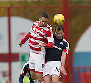 Hamilton&rsquo;s Alexandre D'Acol and Dundee&rsquo;s Paul McGowan - Hamilton v Dundee in the Ladbrokes Scottish Premiership at Superseal stadium, Hamilton. Photo: David Young<br /> <br />  - &copy; David Young - www.davidyoungphoto.co.uk - email: davidyoungphoto@gmail.com