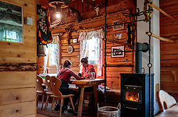 THEMENBILD - zwei Personen spielen in der Hütte ein Brettspiel. Die bewirtschaftete Alm, wo rund 800 Schafe und 55 Milchkühe im Sommer sind, besteht seit dem Jahre 1779 und wird von der Familie Aberger Dick geführt, Sie liegt unmittelbar bei den Kapruner Hochgebirgsstauseen, aufgenommen am 16. Juni 2017, Fürthermoar Alm, Kaprun, Österreich // Two people play in the hut a board game. The Fuerthermoar Alm, where around 800 sheep and 55 dairy cows are in summer and is directly next to the Kaprun Hochgebirgsausauseen. The Mountain Hut exists since 1779 and is owned by the family Aberger Dick, taken on 2017/06/16, Kaprun, Austria. EXPA Pictures © 2017, PhotoCredit: EXPA/ JFK