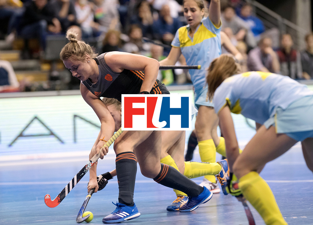 BERLIN - Indoor Hockey World Cup<br /> SF1 Netherlands - Ukraine<br /> foto: Lieke van Wijk and Kateryna Samokhodchenko <br /> WORLDSPORTPICS COPYRIGHT FRANK UIJLENBROEK