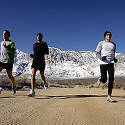 BISHOP, CA, January 19, 2008: Ryan Hall, in white shirt, trains for the Olympics with Mike McKeeman, left, and Steve Slattery, at the base of the Eastern Sierra mountains outside the town of Bishop, California about 30 miles from Mammoth Lakes. The high altitude and clean air provide a picturesque and challenging training ground for the Olympic hopeful.