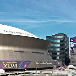 Jan 21, 2013; New Orleans, LA, USA; A general view outside of the Mercedes-Benz Superdome as preparations are made for Super Bowl XLVII between the Baltimore Ravens and the San Francisco 49ers.  Mandatory Credit: Derick E. Hingle-USA TODAY Sports