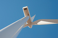 abstract image of wind turbine from underneath