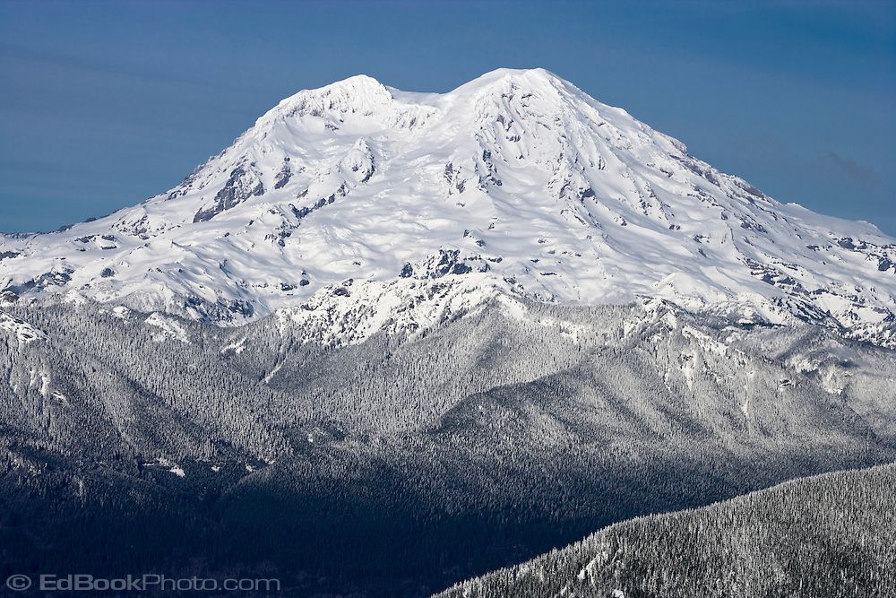 Mount Rainier after a fresh snowfall in winter from Mount Tahoma Trails High Hut, Washington, USA