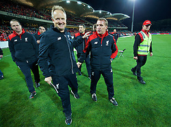 ADELAIDE, AUSTRALIA - Monday, July 20, 2015: Liverpool's manager Brendan Rodgers and assistant manager Sean O'Driscoll applaud the supporters after the 2-0 victory over Adelaide United during a preseason friendly match at the Adelaide Oval on day eight of the club's preseason tour. (Pic by David Rawcliffe/Propaganda)