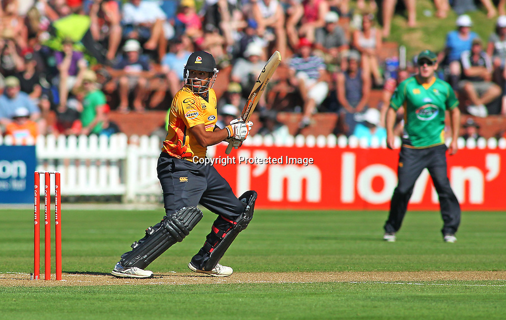 Jeetan Patel loses his wicket caught behind during their Twenty20 Cricket match - HRV Cup, Wellington Firebirds v Central Stags, 27 December 2011, Hawkins Basin Reserve, Wellington. . PHOTO: Grant Down / photosport.co.nz