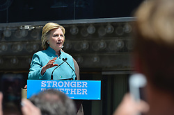 Presumptive Democratic nominee HILLARY CLINTON speaks at a July 7th, 2016 campaign stop, in front t of the closed Trump Plaza casino, on the Boardwalk of Atlantic City, New Jersey.