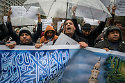 Around 50 Members of the Muslim community living in Japan stage a protest today in Tokyo, in front of the Tokyo Chunichi Shimbun newspaper headquarters, after publishing last issue of the French satirical newspaper Charlie Hebdo.