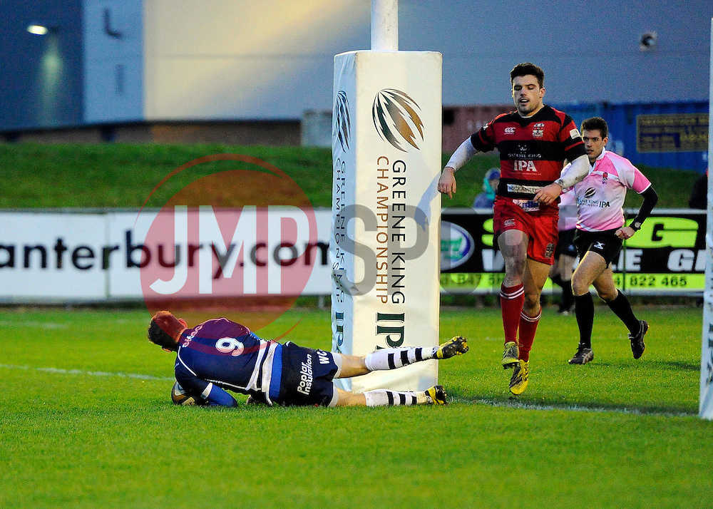 Bristol Rugby Scrum-Half Will Cliff scores a try  - Mandatory byline: Joe Meredith/JMP - 05/12/2015 - RUGBY - Billesley Common - Birmingham, England - Moseley v Bristol Rugby - Greene King IPA Championship