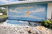 Mural and sea turtle display at Hobe Sound Beach in Hobe Sound, Florida.