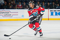 KELOWNA, CANADA - OCTOBER 7: Madison Bowey #4 of Kelowna Rockets moves the puck up the ice against the Swift Current Broncos on October 7, 2014 at Prospera Place in Kelowna, British Columbia, Canada.  (Photo by Marissa Baecker/Getty Images)  *** Local Caption *** Madison Bowey;