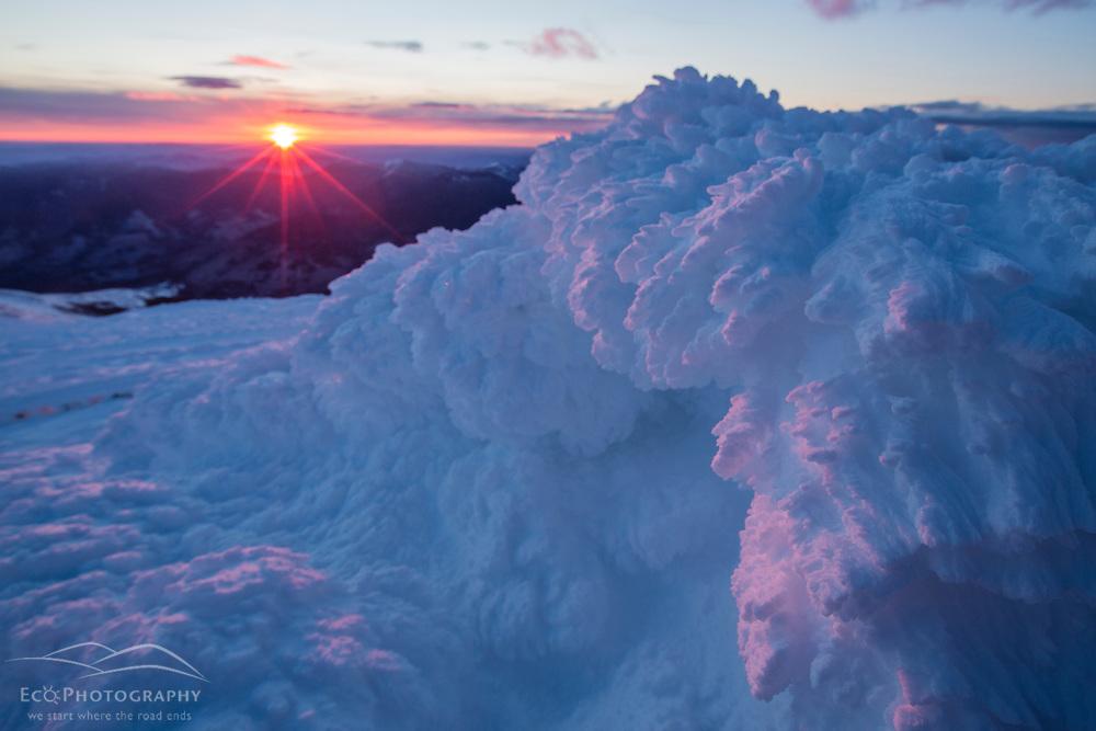Rime ice at sunrise on the summit of New Hampshire's Mount Washington.
