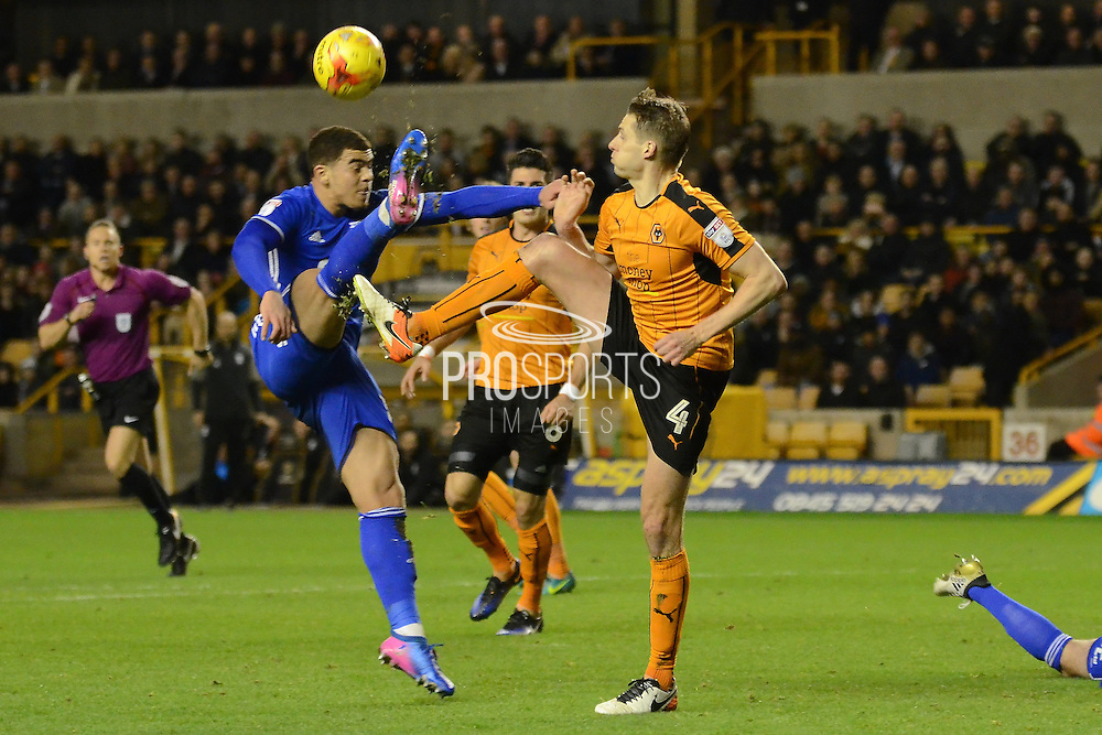 Birmingham City striker Che Adams (14) and Wolverhampton Wanderers midfielder Dave Edwards (4) battle for the ball 0-1 during the EFL Sky Bet Championship match between Wolverhampton Wanderers and Birmingham City at Molineux, Wolverhampton, England on 24 February 2017. Photo by Alan Franklin.