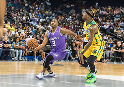 July 6, 2018 - Oakland, CA, U.S. - OAKLAND, CA - JULY 06: Marcus Banks (3) of Ghost Ballers drives to the basket past Jermaine Taylor (1) of the Ball Hogs during game 2 in week three of the BIG3 3-on-3 basketball league on Friday, July 6, 2018 at the Oracle Arena in Oakland, CA  (Photo by Douglas Stringer/Icon Sportswire) (Credit Image: © Douglas Stringer/Icon SMI via ZUMA Press)
