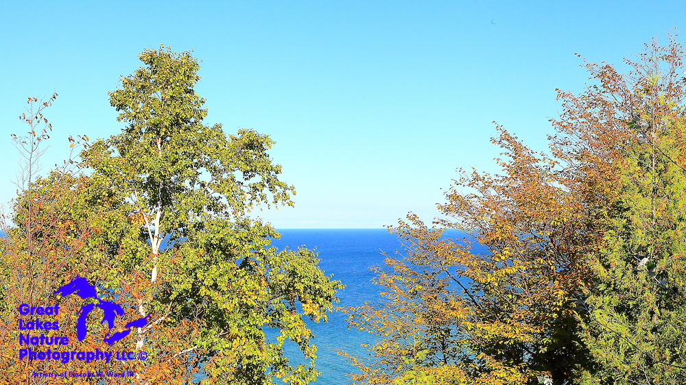 A nice glimpse of Lake Michigan, captured from high atop the Benzie Scenic Turnout north of Arcadia Michigan.
