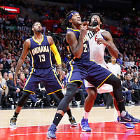 02 December 2015: Indiana Pacers center Jordan Hill (27) vies for the rebound with Los Angeles Clippers center DeAndre Jordan (6) next to Indiana Pacers forward Paul George (13) during the Indiana Pacers 103-91 victory over the Los Angeles Clippers, at the Staples Center, Los Angeles, California, USA.