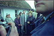 Raisa Gorbachev at Bunratty Folk Park.  (R99)..1989..02.04.1989..04.02.1989..2nd April 1989..While her husband, Russian President Mikhail Gorbachev,was working on state matters ,Mrs Gorbachev was taken on a tour of Bunratty Folk Park in Co Clare. The Gorbachevs were in Ireland as part of a tour of European Capitals...Image shows the media interest as Mrs Gorbachev arrives to tour Bunratty Folk Park. Mrs Gorbachev was accompanied on the tour by Mrs Maureen Haughey, wife of An Taoiseach, Charles Haughey.