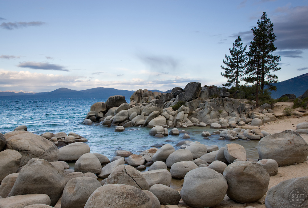 """""""Sand Harbor, Lake Tahoe"""" - These boulders were photographed in the morning at Sand Harbor, Lake Tahoe."""