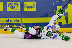Andrej Hebar (HDD Tilia Olimpija, #84) during of ice-hockey match between Moser Medical Graz 99ers and HDD Tilia Olimpija in 11th Round of EBEL league, on October 14, 2011 at Eisstadion Graz-Liebenau, Graz, Austria. (Photo By Matic Klansek Velej / Sportida)