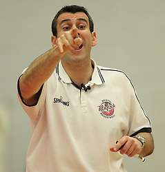 Bristol Flyers head coach, Andreas Kapoulas points - Photo mandatory by-line: Robbie Stephenson/JMP - Mobile: 07966 386802 - 18/04/2015 - SPORT - Basketball - Bristol - SGS Wise Campus - Bristol Flyers v Leeds Force - British Basketball League