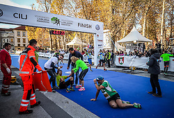 Exhausted runners in finish area of 42km Run at 21st Ljubljana Marathon 2016, on October 30, 2016 in Ljubljana, Slovenia. Photo by Vid Ponikvar / Sportida