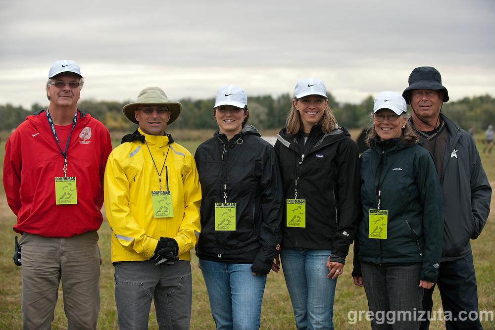 Starting line officials (L to R: Greg Gardner, Mark Murdock, Kathryn Elliott, Erica Feider, Ann Dallas, Dean Dallas) for the Bob Firman Invitational on September 27, 2014 at Eagle Island State Park, Eagle, Idaho.