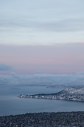 """Sunrise at Lake Tahoe 12"" - This soft pastel like sunrise above Lake Tahoe was photographed from the Mount Rose Highway (HWY 431) overlook."