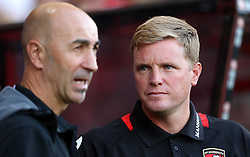 Manager of Bournemouth, Eddie Howe chats with Manager of Valencia Pako Ayestaran - Mandatory by-line: Robbie Stephenson/JMP - 03/08/2016 - FOOTBALL - Vitality Stadium - Bournemouth, England - AFC Bournemouth v Valencia - Pre-season friendly