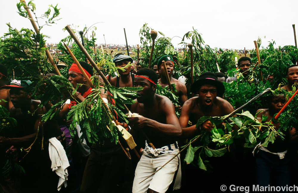 Inkatha Freedom Party supporters in traditional attire at a Shaka day  rally in Durban, South Africa, 1994