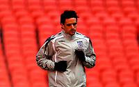 Photo: Alan Crowhurst.<br />England training session at Wembley Stadium. 21/03/2007. Owen Hargreaves warms up.