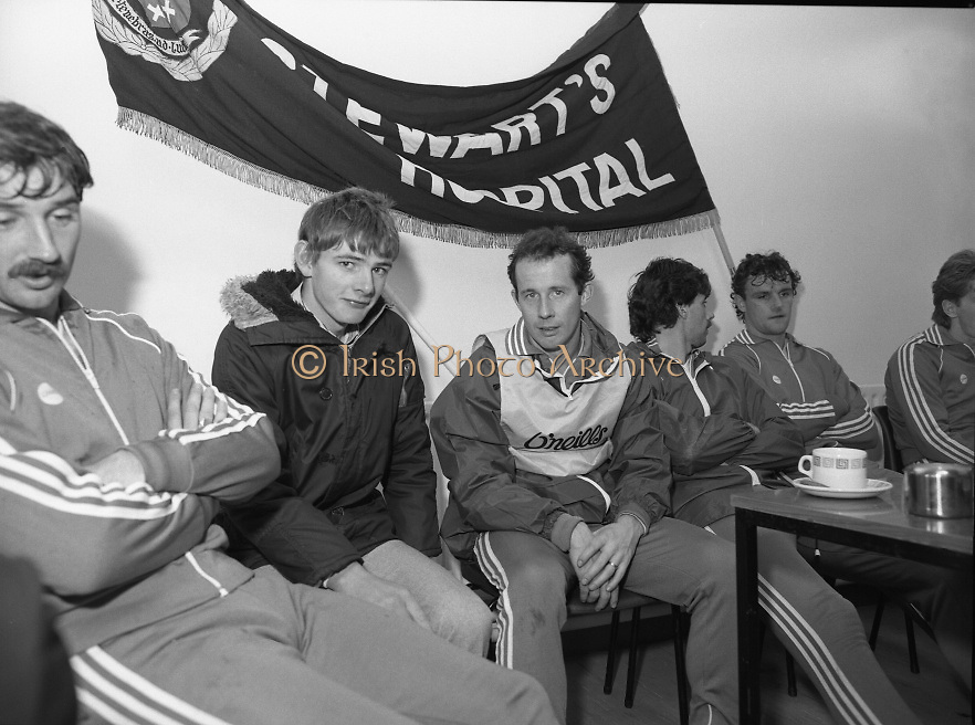 Ireland Soccer Team Training.1983.14.11.1983.11.14.1983.14th November 1983..The Ireland Soccer team trained, for the forthcoming match against Malta, at Stewarts Hospital,Palmerstown Dublin..Image of a fan posing for a photo alongside Liam Brady
