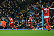 Sevilla  midfeilder Yevhen Konoplyanka celebrates goal during the Champions League Group D match between Manchester City and Sevilla at the Etihad Stadium, Manchester, England on 21 October 2015. Photo by Alan Franklin.