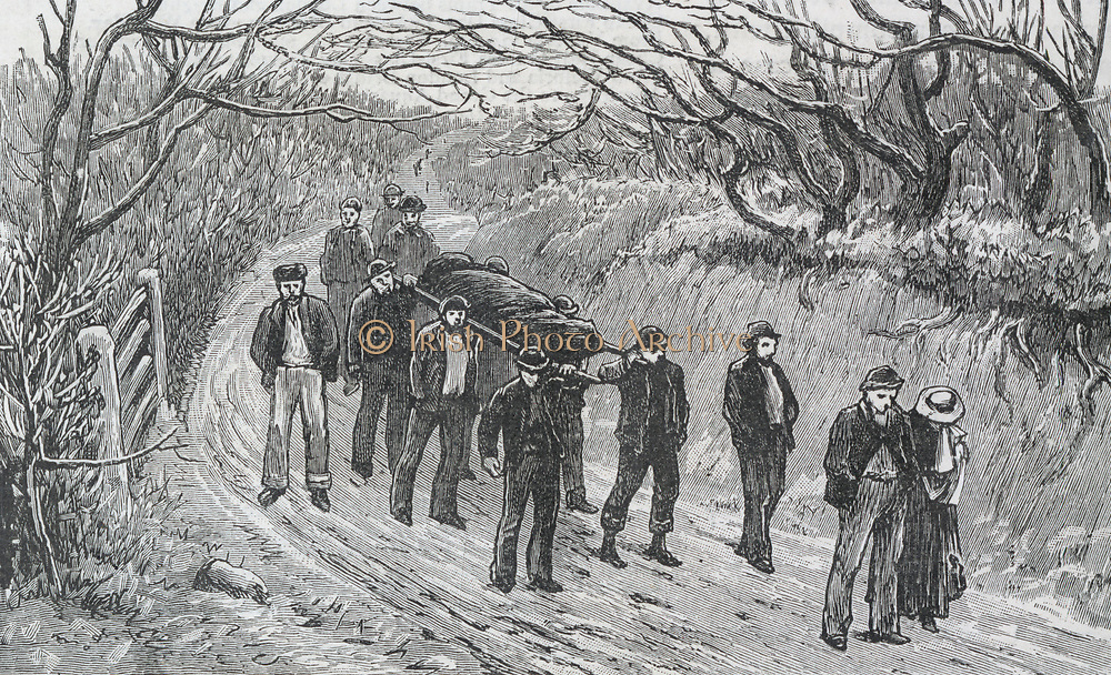 Colliery explosion at Llanerch, Monmouthshire, Wales, 1890.  Grieving relatives walking ahead of men carrying their loved one's body