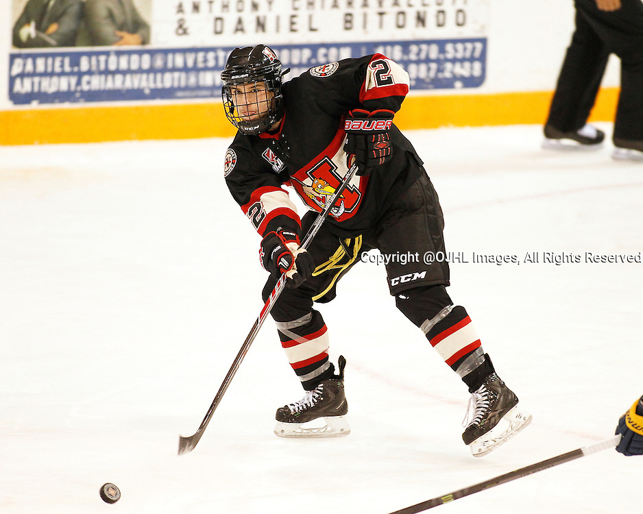NEWMARKET, ON - Oct 15, 2015 : Ontario Junior Hockey League game action between Whitby and Newmarket, Nick Kalpousos #2 passes the puck during the second period.<br /> (Photo by Brian Watts / OJHL Images)