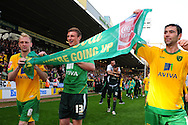 London - Saturday, April 17th 2010: Norwich City players celebrate after the Coca Cola League One match at Carrow Road, Norwich..(Pic by Alex Broadway/Focus Images)