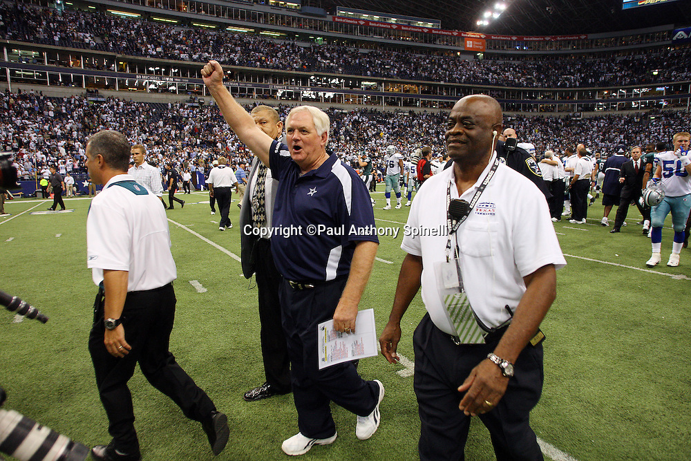 IRVING, TX - SEPTEMBER 15:  Head Coach Wade Phillips of the Dallas Cowboys waves his arm in victory as he walks off the field after the game against the Philadelphia Eagles at Texas Stadium on September 15, 2008 in Irving, Texas. The Cowboys defeated the Eagles 41-37. ©Paul Anthony Spinelli *** Local Caption *** Wade Phillips