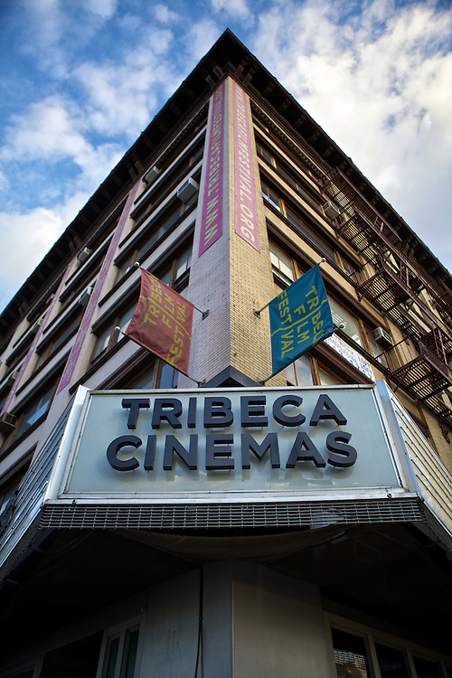 The exterior of Tribeca Cinemas taken before a movie premiere.