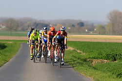 The breakaway group led by Luxembourg National Champion Bob Jungels (LUX) Deceuninck-Quick Step on Driesstraat during the 2019 E3 Harelbeke Binck Bank Classic 2019 running 203.9km from Harelbeke to Harelbeke, Belgium. 29th March 2019.<br /> Picture: Eoin Clarke | Cyclefile<br /> <br /> All photos usage must carry mandatory copyright credit (© Cyclefile | Eoin Clarke)