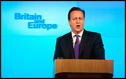 The Prime Minister David Cameron delivers his speech on Europe at the Bloomberg Hq in London, Wednesday January 23, 2013. Photo: Andrew Parsons / i-Images