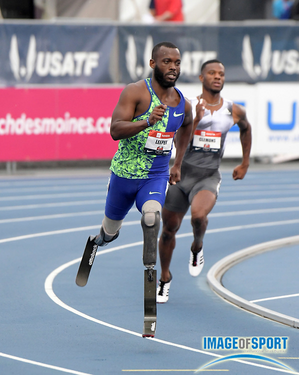 Jul 25, 2019; Des Moines, IA, USA; Paralympic athlete Blake Leeper runs with prosthetic legs in a 400m heat during the USATF Championships at Drake Stadium. Leeper finished second in 45.09 to advance.