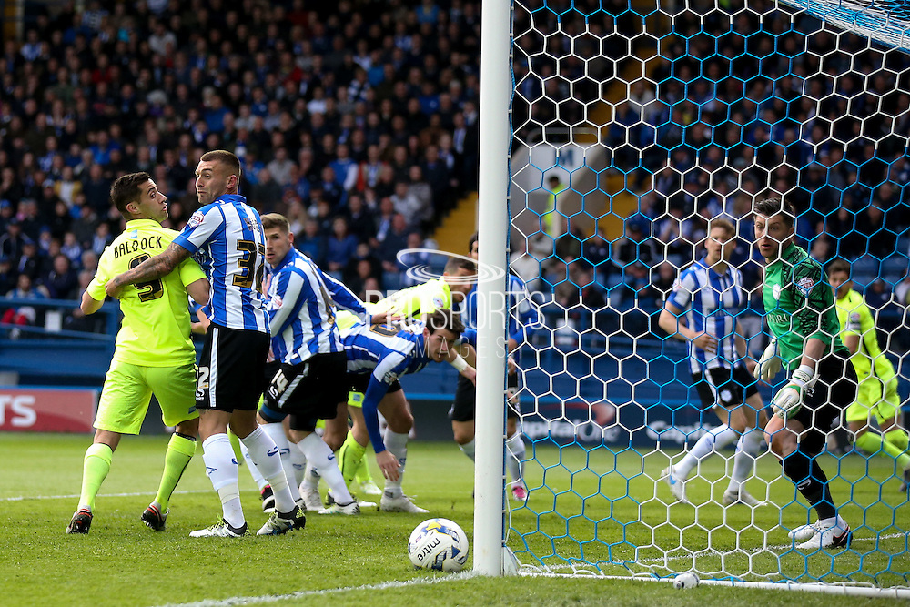 Brighton & hove Albion hit the post during the Sky Bet Championship play-off first leg match between Sheffield Wednesday and Brighton and Hove Albion at Hillsborough, Sheffield, England on 13 May 2016. Photo by Simon Davies.