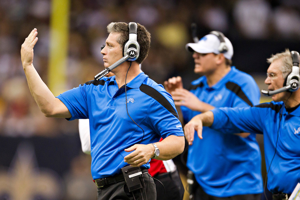 NEW ORLEANS, LA - DECEMBER 4:  Head Coach Jim Schwartz of the Detroit Lions signals to his team during a game against the New Orleans Saints at Mercedes-Benz Superdome on December 4, 2011 in New Orleans, Louisiana.  The Saints defeated the Lions 31-17.  (Photo by Wesley Hitt/Getty Images) *** Local Caption *** Jim Schwartz