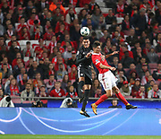 Manchester United Defender Chris Smalling against Raúl Jiménez during the Champions League match between Benfica and Manchester United at Estadio da Luz, Benfica, Portugal on 18 October 2017. Photo by Ahmad Morra.